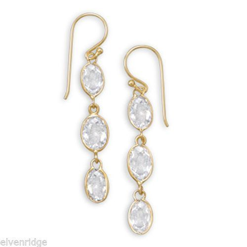14 Karat Gold Plated CZ Earrings Sterling Silver