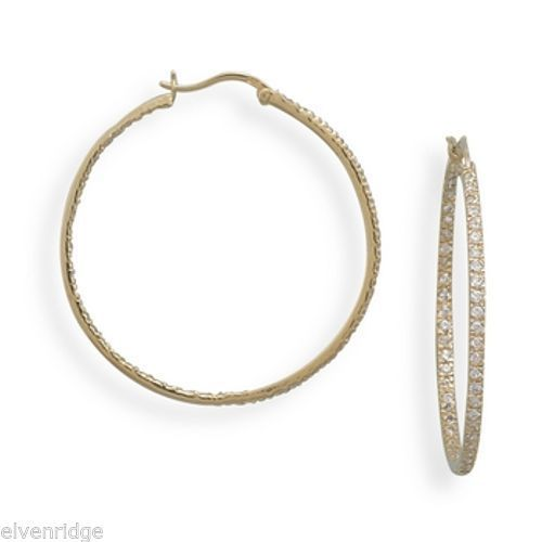 14 Karat Gold Plated CZ Hoop Earrings Sterling Silver
