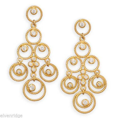 14 Karat Gold Plated CZ Chandelier Earrings Sterling Silver