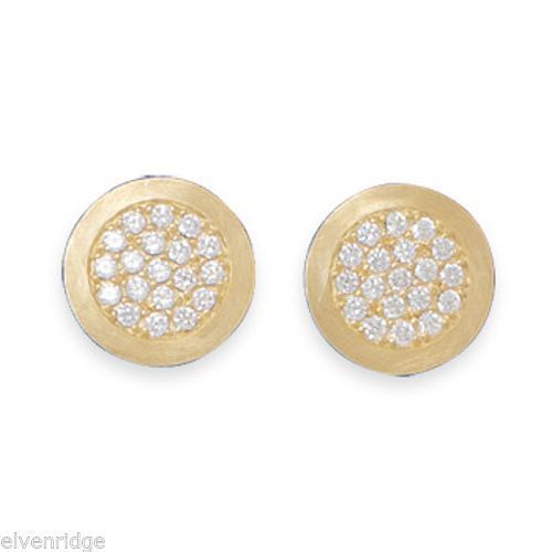 14 Karat Gold Plated Pave CZ Post Earrings Sterling Silver