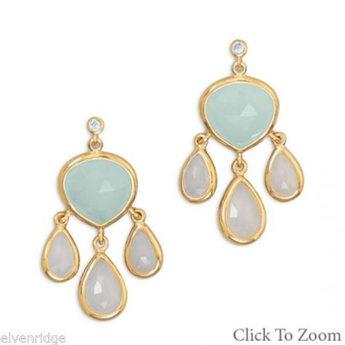14 Karat Gold Plated Topaz and Chalcedony Drop Earrings Sterling Silver