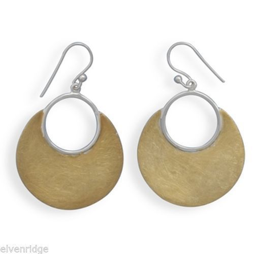 14 Karat Gold Plated Brushed Earrings Sterling Silver
