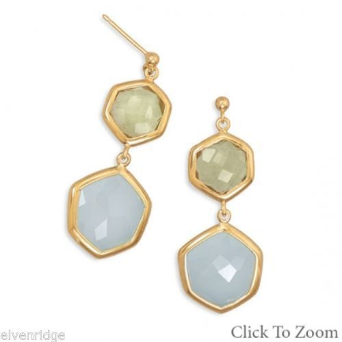 14 Karat Gold Plated Quartz and Chalcedony Drop Earrings Sterling Silver