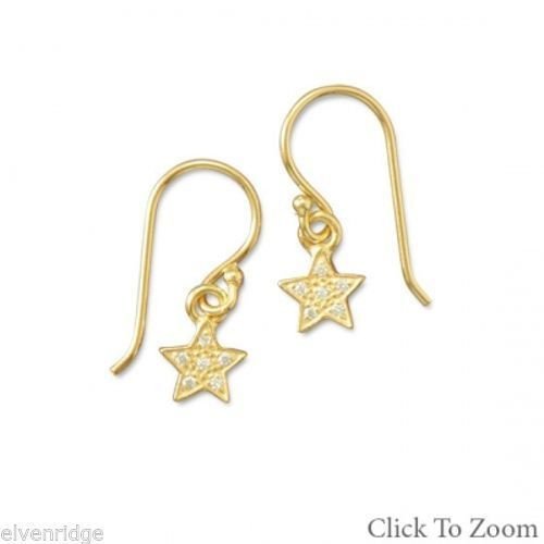14 Karat Gold Plated Pave CZ Star Earrings Sterling Silver