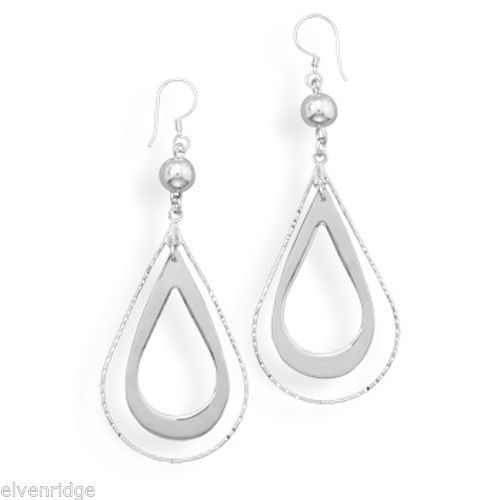 Bead and Double Pear Drop Earrings Sterling Silver