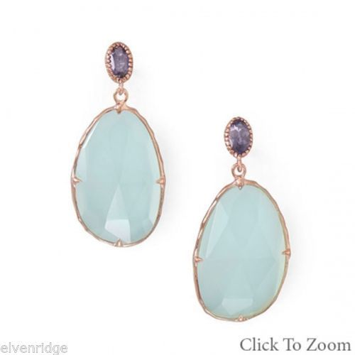 14 Karat Rose Gold Plated Chalcedony Drop Earrings Sterling Silver