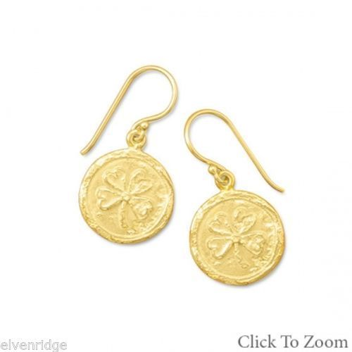 14K Gold Plated 4 Leaf Clover Earrings Sterling Silver