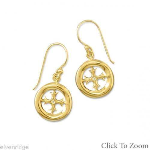 14K Gold Plated Cut Out Cross Earrings Sterling Silver