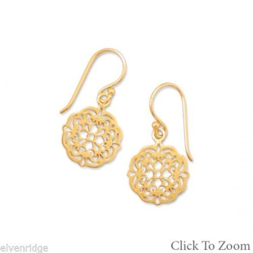 14K Gold Plated Earrings with Ornate Cut Out Design Sterling Silver
