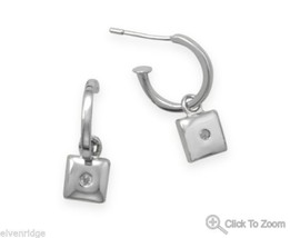 April Diamond Earrings Sterling Silver
