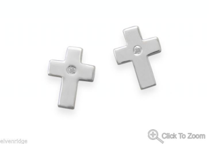 Faith Shines Diamond Stud Earrings Sterling Silver