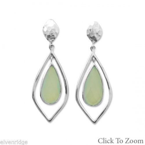 Faceted Green Chalcedony Drop Earrings Sterling Silver