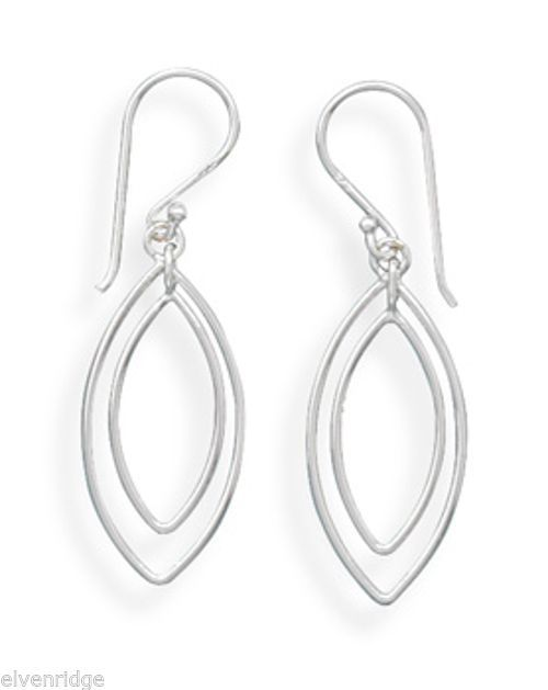 Double Marquise Drop French Wire Earrings Sterling Silver