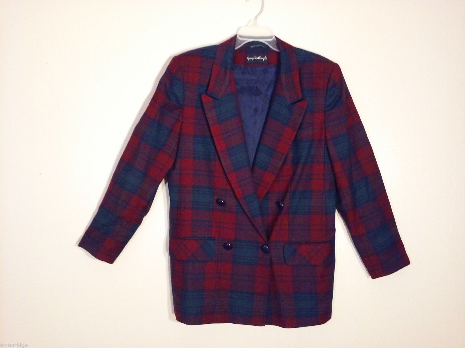 Giorgio Sant' Angelo Women's Size 12 Wool Blazer Plaid in Blue Red Green Yellow