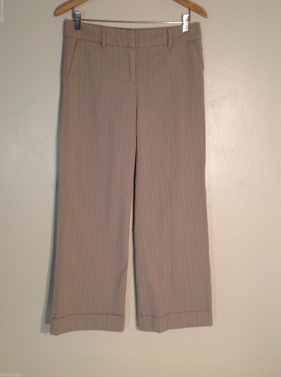 New York & Company Women's Petite Size 8 Dress Pants Tan Brown w/ Pinstripes