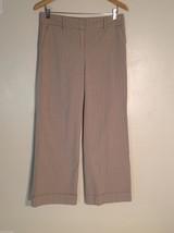 New York & Company Women's Petite Size 8 Dress Pants Tan Brown w/ Pinstripes