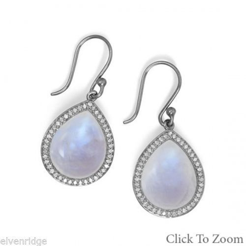 Midnight Collection Drop Earrings With Gray Diamonds Sterling Silver
