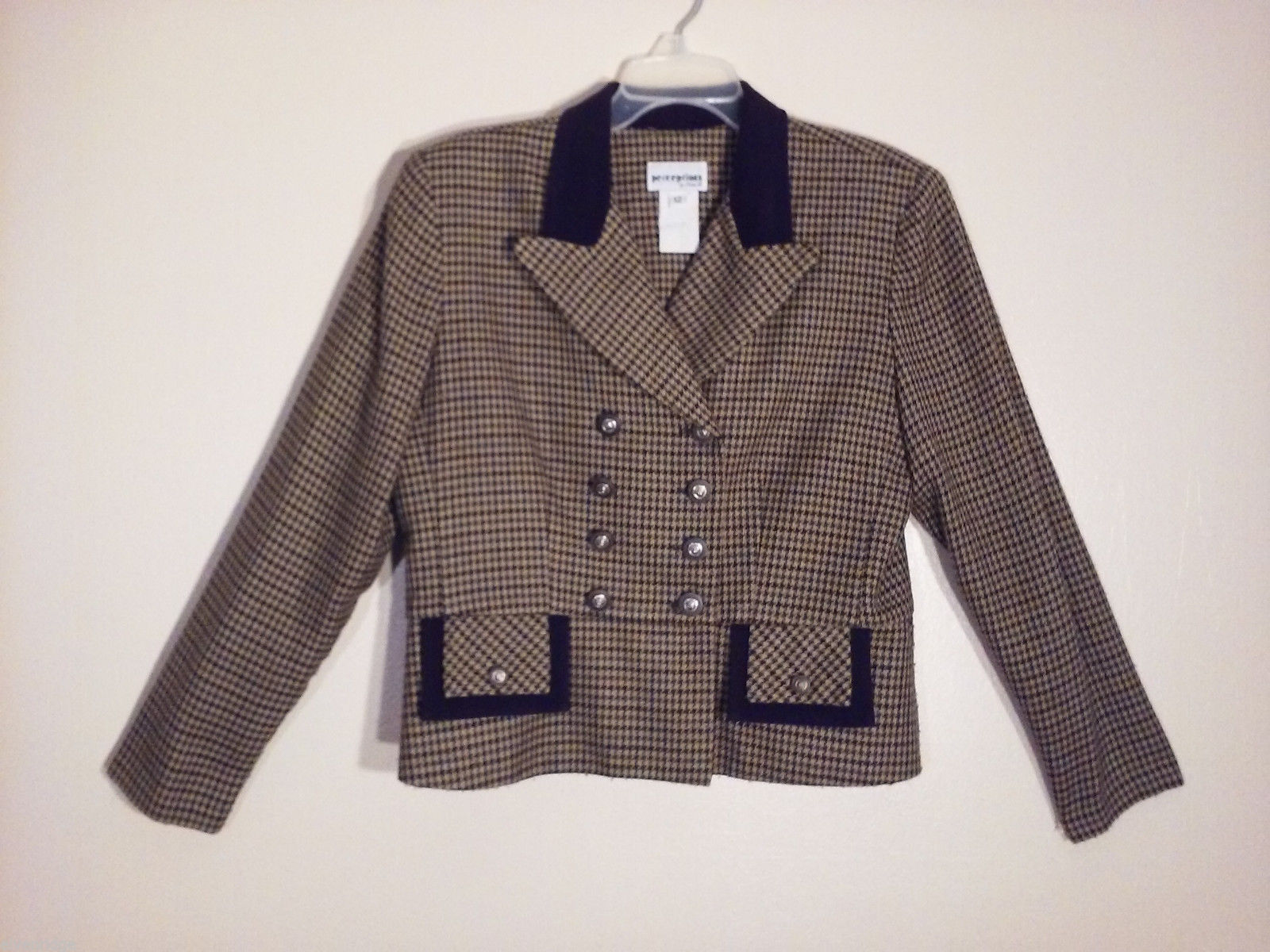 Perceptions by Irene B. Women's Size 12 Retro Blazer Double-Breasted Houndstooth