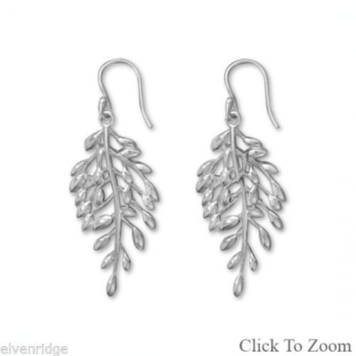 Polished Vine with Leaf Design Earrings Sterling Silver