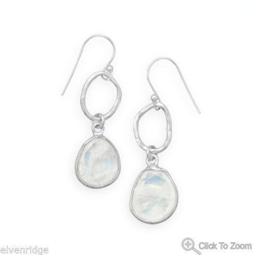 Rainbow Moonstone Drop Earrings Sterling Silver