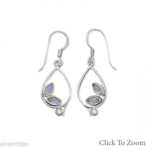 Oxidized Pear Drop Earrings with Rainbow Moonstone Sterling Silver