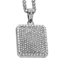 """MEN'S GOLD ICED OUT DOG TAG CZ Pendant 30"""" Stainless Steel Figaro Chain ... - $12.99"""