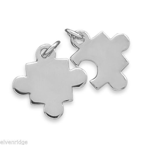 Rhodium Plated Puzzle Piece Charms Sterling Silver