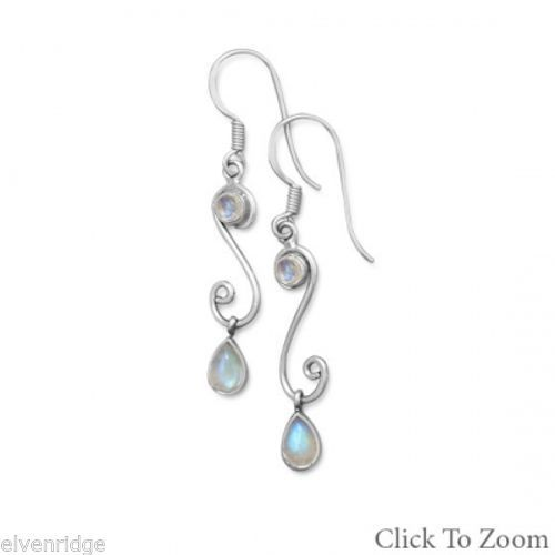 """S"" Design Drop Earrings with Rainbow Moonstone Sterling Silver"