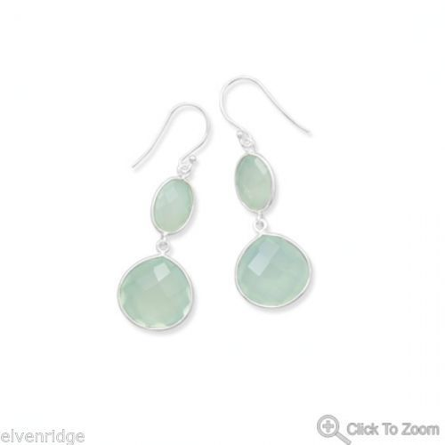 Sea Green Chalcedony Drop Earrings Sterling Silver