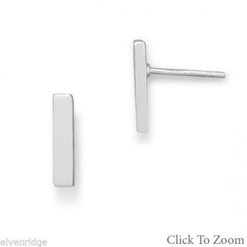 Silver Bar Stud Earrings Sterling Silver