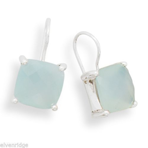 Square Chalcedony Earrings Sterling Silver