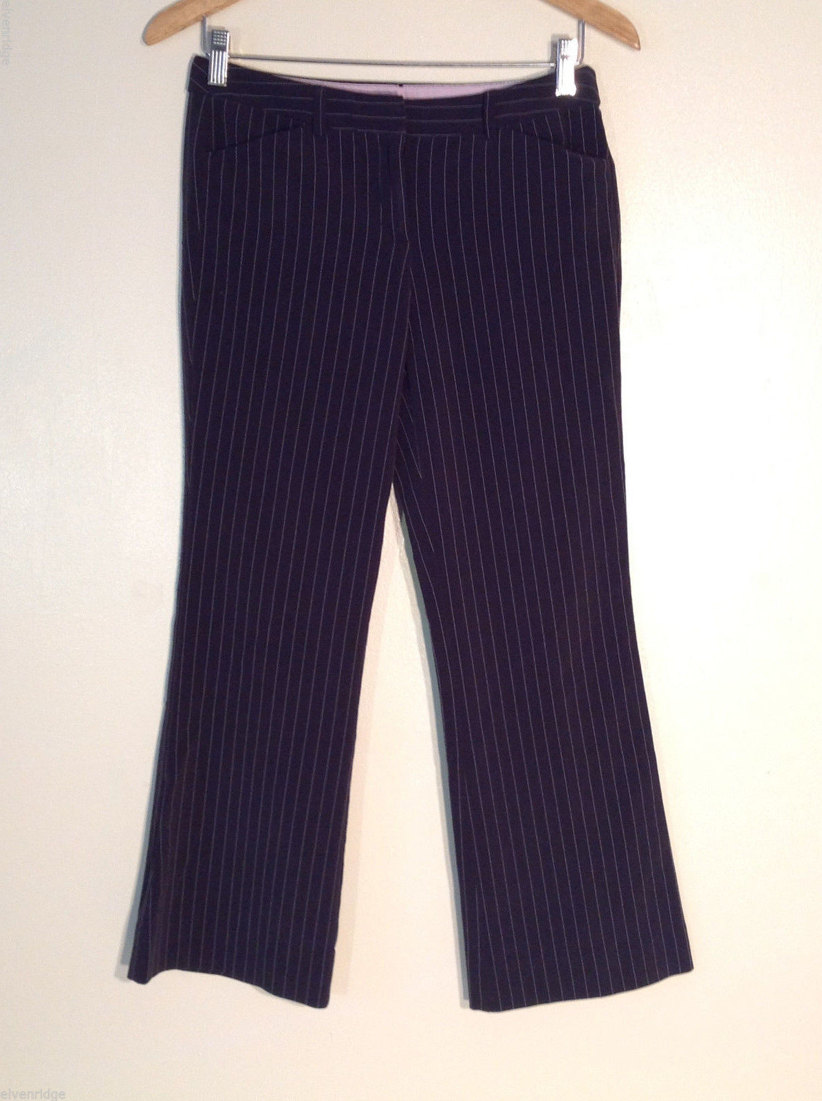Tracy Evans Women's Petite Size 7-8 Dress Pants Black Pinstripes for Office Work