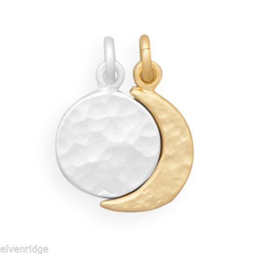 Two Tone Full Moon and Crescent Moon Charm Set Sterling Silver