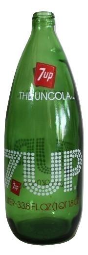 Vintage Empty Green Glass 7up Bottle 1 Liter