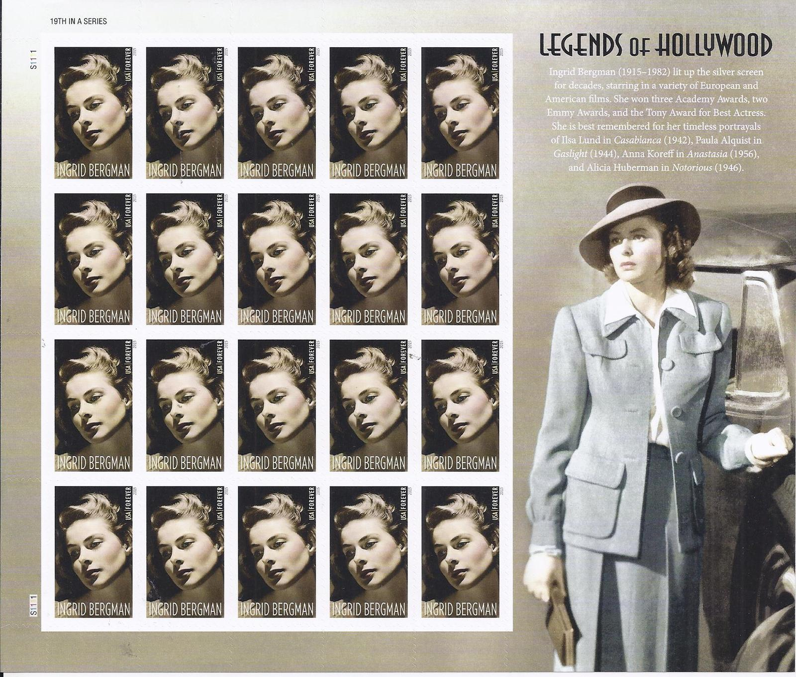 INGRID BERMAN (1915-1982) - 20 (USPS) SHEET FOREVER STAMPS