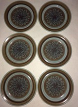 "Franciscan NUT TREE 8.5"" Lunch Plate Set Of 6 tan & brown Turquoise Blue Plates - $30.34"