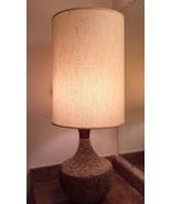 "Mid-Century Modern CORK & WOOD table lamp 35"" San Diego MCM WORKS! Natur... - $135.58"