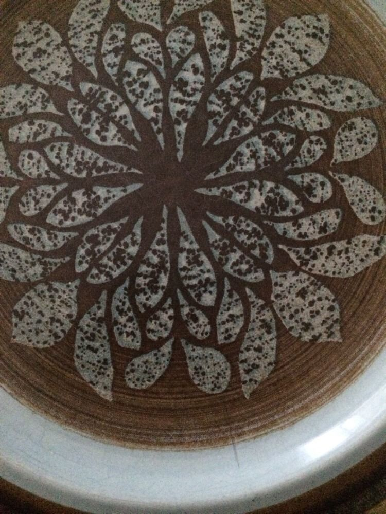 """Franciscan NUT TREE 8.5"""" Lunch Plate Set Of 6 tan & brown Turquoise Blue Plates"""