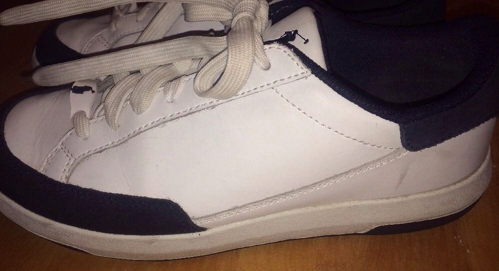 RALPH LAUREN POLO LEATHER SNEAKERS WOMANS WHITE 7.5 B SKID RESISTANT SOLE Shoes