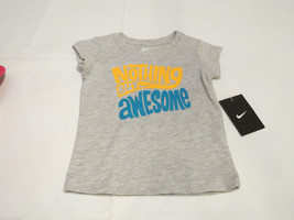 Nike active t shirt toddler 2T girls Nothing But Awesome 261929 Gray 017... - $10.50