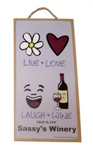 "Live Love Laugh Wine 5"" x 10"" Wood Sign from th... - $9.95"