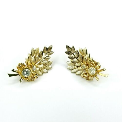 Vintage Sarah Coventry Signed Goldtone Harvest Time Rhinestone Clip On Earrings - $19.39