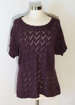 Coldwater Creek Pointelle Knit Top Marled Purple Sweater Short Dolman Sl... - $24.80