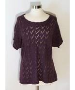 Coldwater Creek Pointelle Knit Top Marled Purple Sweater Short Dolman Slv sz XL - $24.80