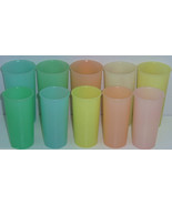 10 Tupperware Tumblers Pastal Cups Blue Green Orange Yellow 116 117 - $24.97