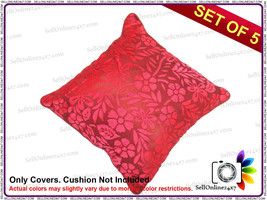 Brasso - Carrot Floral Design Cushion Covers In Maroon Color Set of 5 Pcs - $16.09