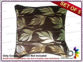 Polyster Silk Fabric Cushion Cover in Coffee Color Golden Leaf Pattern S... - €10,11 EUR