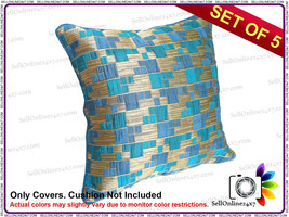 Blue Or Golden Color Stripes Pattern Cushion Cover - Set of 5 Pcs - $12.86