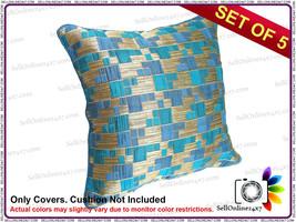 Blue Or Golden Color Stripes Pattern Cushion Cover - Set of 5 Pcs - £10.16 GBP