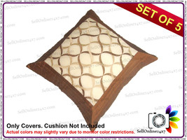 Set of 5 Pcs Tissue Embroidery with Coffee Borders New Cushion Covers - €13,52 EUR